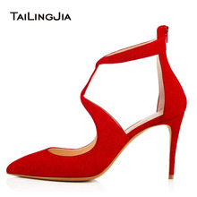 Black 9cm Low Heel Women Pumps Woman Shoes Cross Tied Pointed Toe Bukle Shoes Red Ladies Party Dress Shoes Plus Size 2019 Brand недорого
