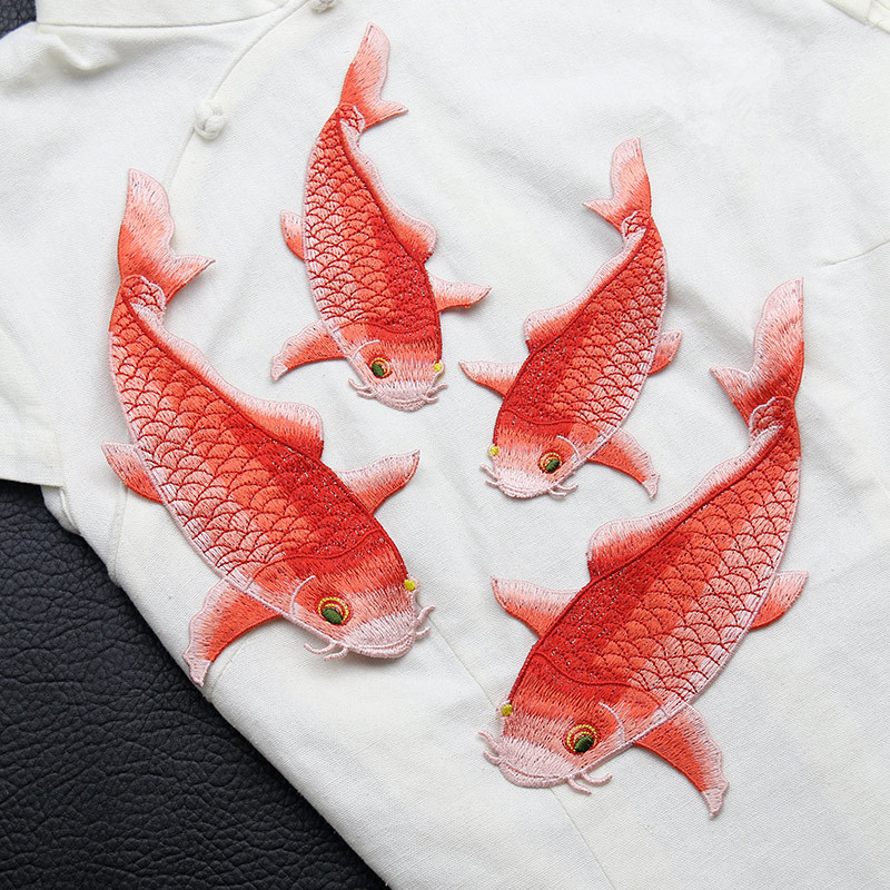 Buy embroidery red carp without adhesive for Decorative carp