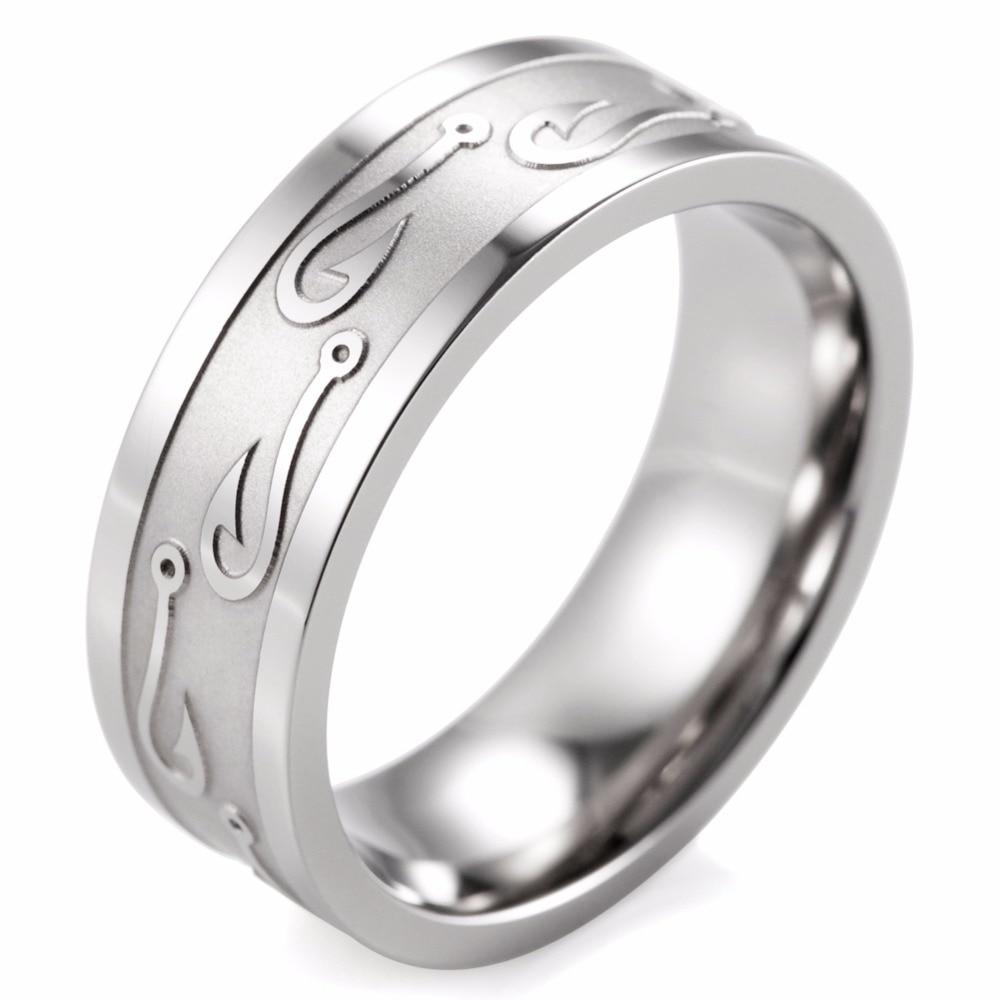 Shardon 8mm flat titanium carved textured fish hook ring for Fish hook wedding band