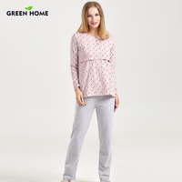 Green Home Crazy Sheeps Nursing Pajamas Suit New Arrival Three Quarter Maternity Sleepwear Set For Breastfeeding