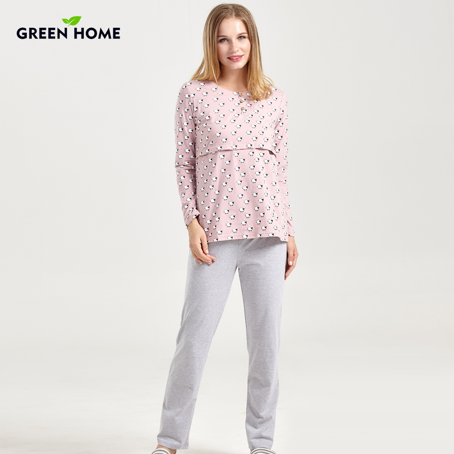 7b38ae7638 Green-Home-Nursing-Full-Sleeve-Maternity-Sleepwear-Set-for-Pregnancy -Nightwear-Home-Clothes-for-Women-Pajamas.jpg