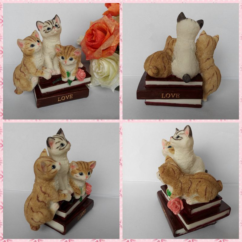 Free shipping 3 Cats on books Figures Resin toy vivide lifelike cute Kitten cake home office car decoration party supply gifts