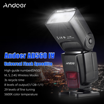 Andoer AD560 IV 2.4G Wireless Universal On-camera Slave Speedlite Flash Light GN50 w/ Trigger for Canon Nikon Sony  DSLR Cameras