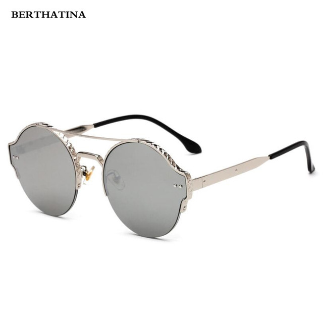 d099aecb4f9f Luxury Vintage Women Men Metal Round Half Frame Sunglasses Women Brand 2018  Cat Eye Sunglasses Sun. Mouse over to zoom in