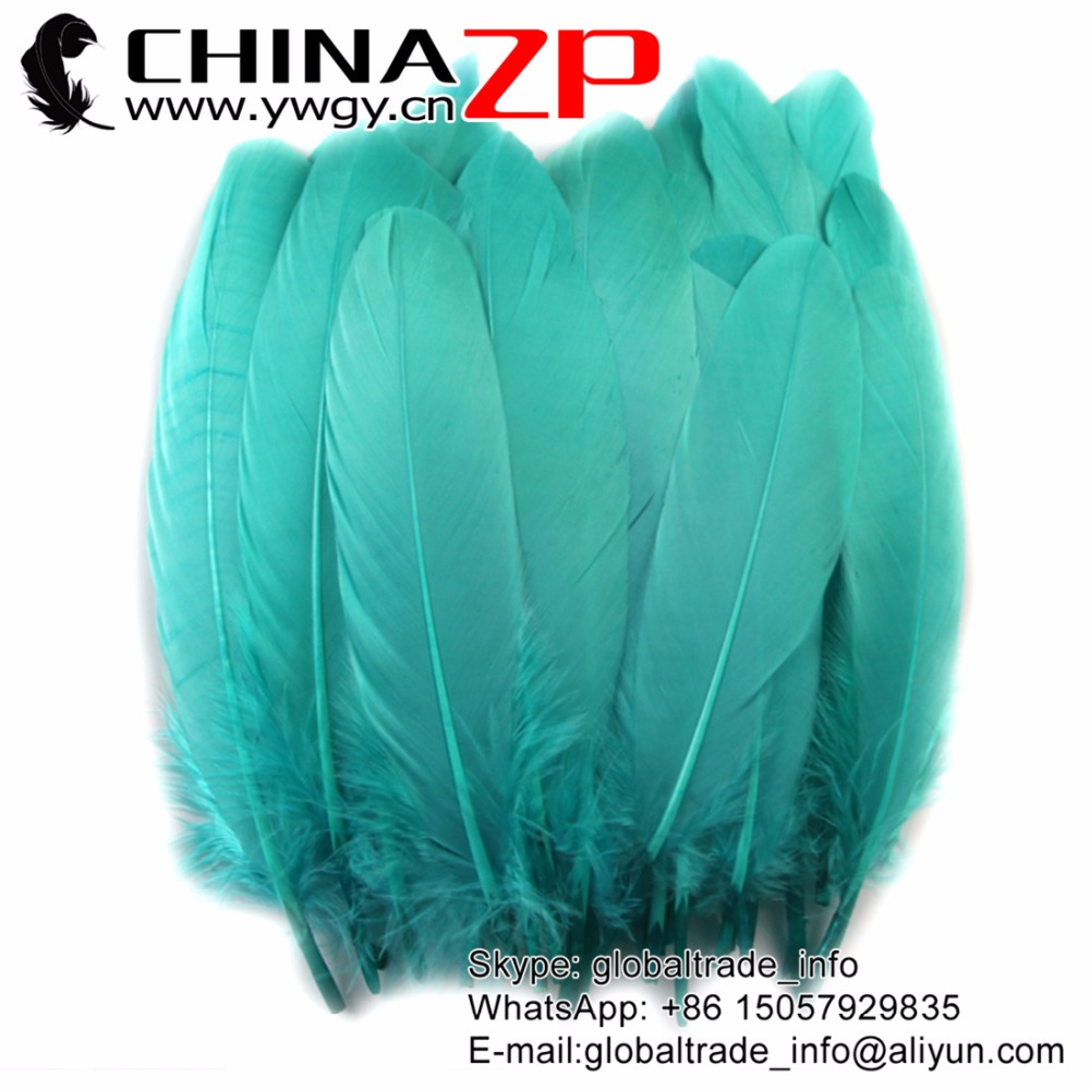 Gold Manufacturer CHINAZP Factory 500pcs/lot Fantastic Dyed Aqua Blue Goose Loose Feathers for Decorations