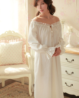 spring and autumn long sleeve royal women nightdress aesthetic cotton lace princess sexy nightgown