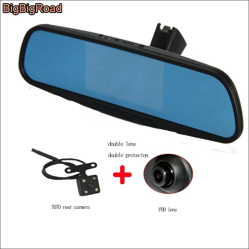 BigBigRoad Car Mirror DVR Driving Video Recorder For citroen C-Triomphe DashCam Blue Screen Dual Lens with Original Bracket bigbigroad for vw tiguan routan car dvr blue screen dual lens rearview mirror video recorder 5 inch car black box night vision