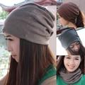 Rua moda Casual Unisex Beanie empilhamento malha chapéus de inverno desabado para mulheres homens Hip hop turbante pilhas chapéu cachecol