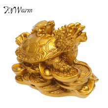 KiWarm Gold Resin Feng Shui Dragon Turtle Tortoise Statue Figurine Coin Money Wealth Ornaments For Home Office