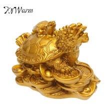 Kiwarm estatueta de tartaruga, enfeite de resina dourada para dinheiro, moedas, riqueza, para escritório em casa