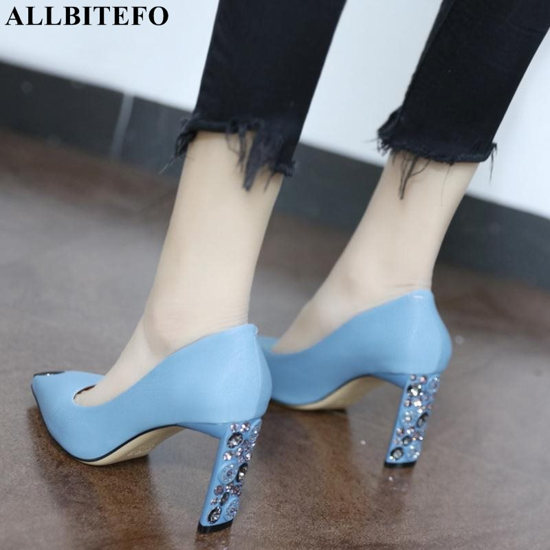 ALLBITEFO Fashion Rhinestone Pointed Toe High Heels Women Shoes Wedding Women High Heel Shoes High Quality Office  Women Heels