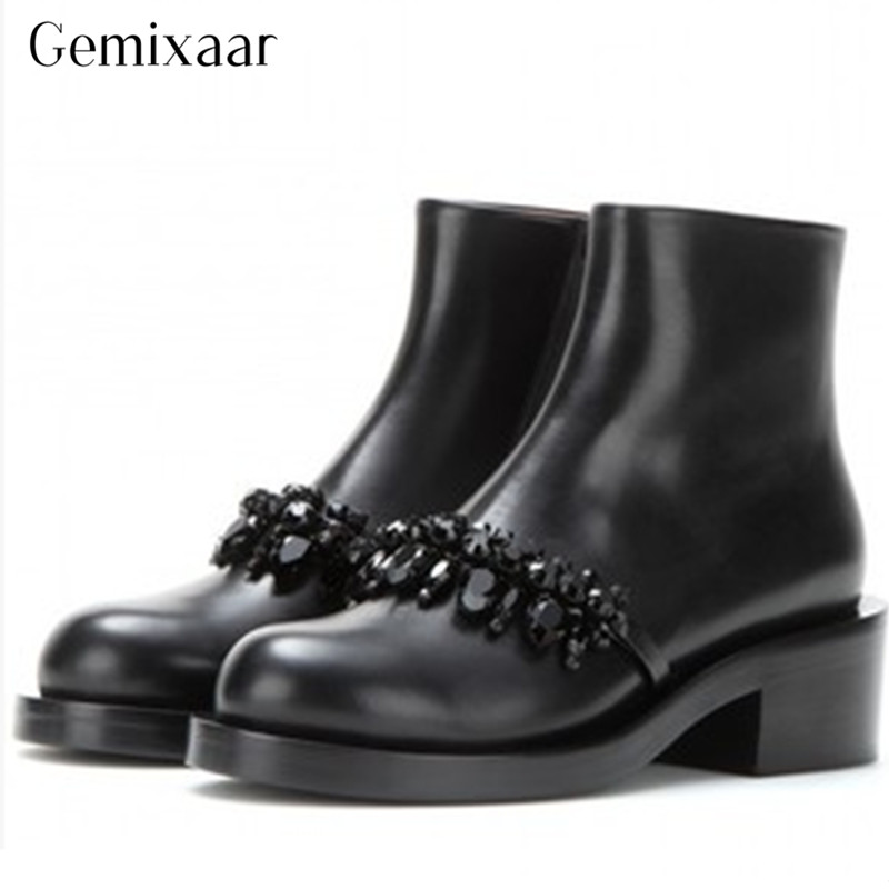 OL Luxury Black Crystal Genuine Sheepskin Ankle Boots Classic Round Toe Square Heel Women Shoes Elegant Solid Color Party BotasOL Luxury Black Crystal Genuine Sheepskin Ankle Boots Classic Round Toe Square Heel Women Shoes Elegant Solid Color Party Botas