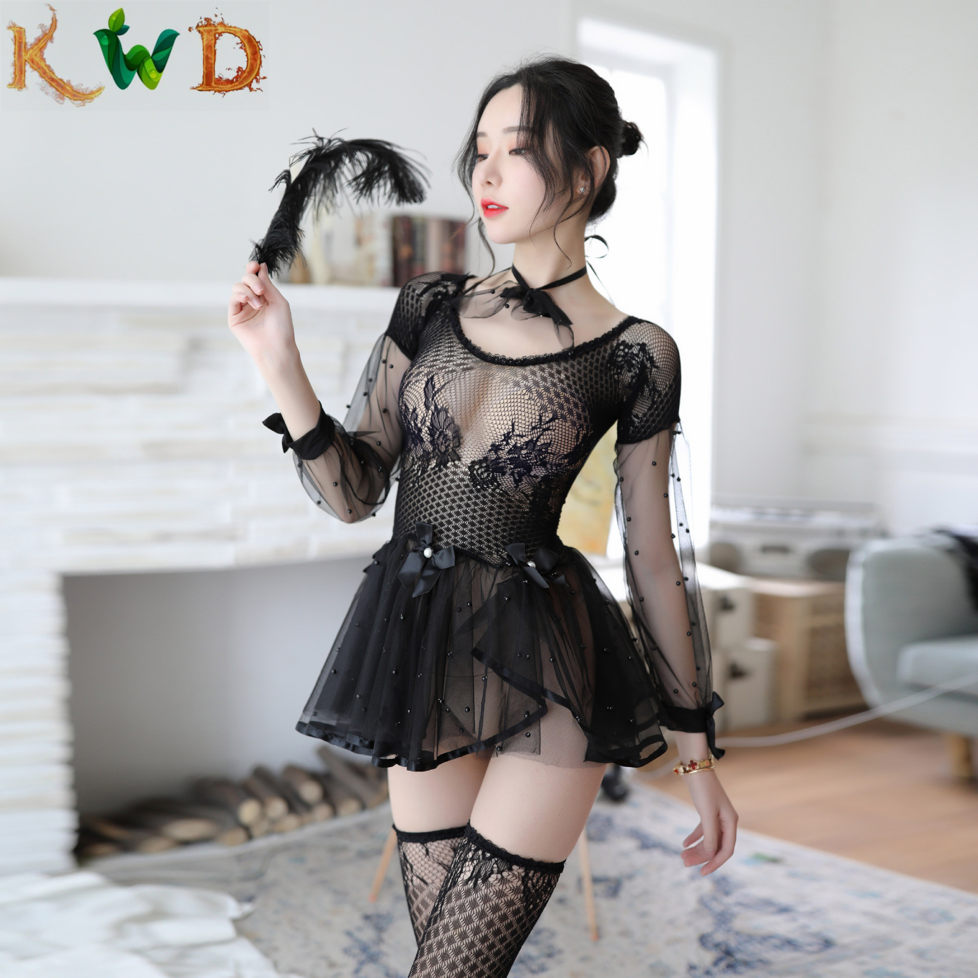 KWD Uniform Sexy Underwear Lenceria Womens Sexy Lingerie Baby Doll Dress Backless Lace Set Erotic Lingerie Maid Erotic Cosplay