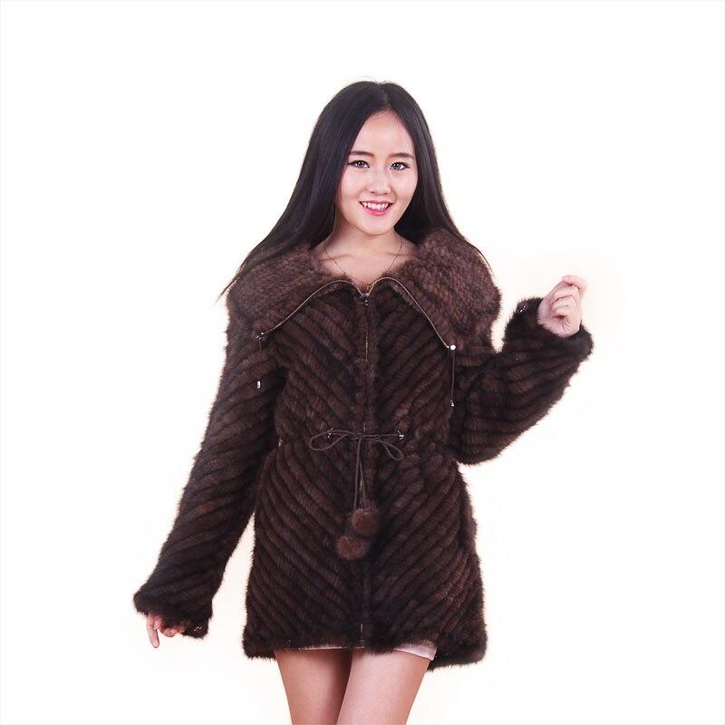 Novi Mins Knit krzneni plašč krzno oblačilo mink plašč jakna lapel Jesen in zima ženska moda