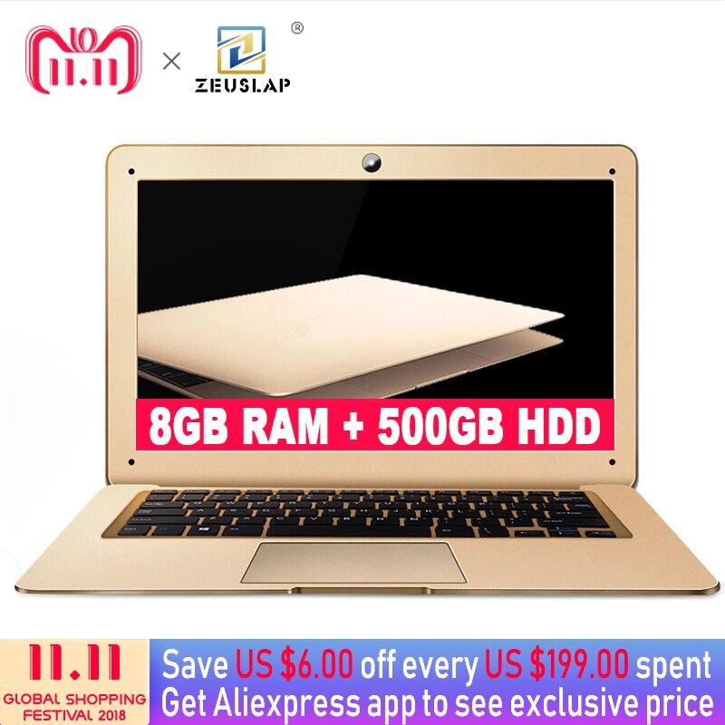 ZEUSLAP 8GB Ram 500gb HDD Intel Quad Core CPU Windows10 System 14inch 1920*1080P Full HD IPS Screen Laptop Notebook Computer цена