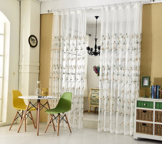 European White Embroidered Voile Curtains For Bedroom Sheer Curtains