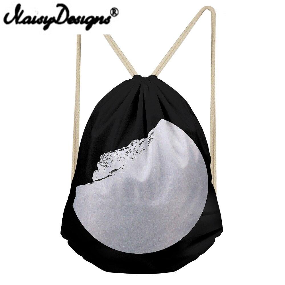 Noisydesigns Black White Broken Moon Printed Drawstring Backpack For Men Women School Bags Travel Rucksack Unisex Pouch Mochila