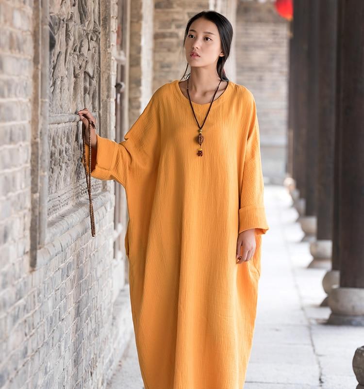 Linen dress big size Batwing Cotton Women Long Dress Oversized Zen style Solid Robe Femme Gown Dresses Loose Casual Maxi Dress белая рубашка с объемными рукавами и вырезом