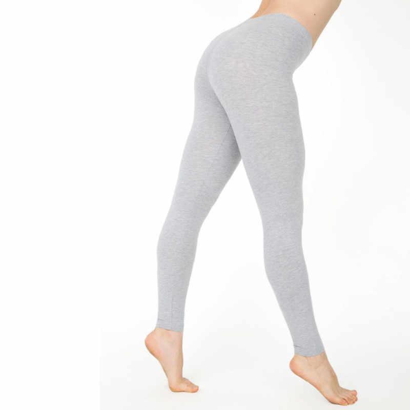 25d0e518ae1a40 Elastic High Waist Women Full Length Skinny Pencil Pants Cotton Solid Fitness  Leggings Trousers Female Plus