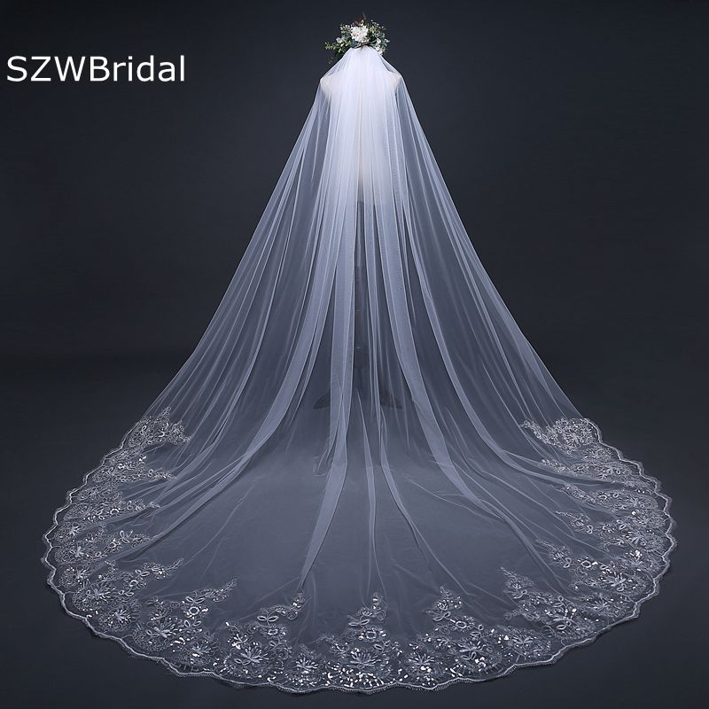3 Meter White Ivory Cathedral Wedding Veils Long Lace Edge Bridal Veil with Comb Wedding Accessories Bride Veu Wedding Veil fashion bridal veils party wedding hair accessories flower girls bridesmaid hair band floral lace veil headdress free shipping
