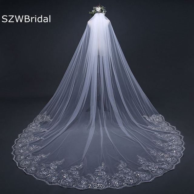 3 Meter White Ivory Cathedral Wedding Veils Long Lace Edge Bridal Veil With Comb Accessories