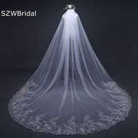 3 Meter White Ivory Cathedral Wedding Veils Long Lace Edge Bridal Veil with Comb Wedding Accessories Bride Veu Wedding Veil