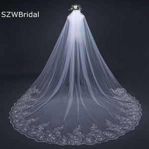 Image 3 - Velo de novia con borde de encaje, velo de novia con borde de encaje blanco marfil de 3 metros, accesorios de boda