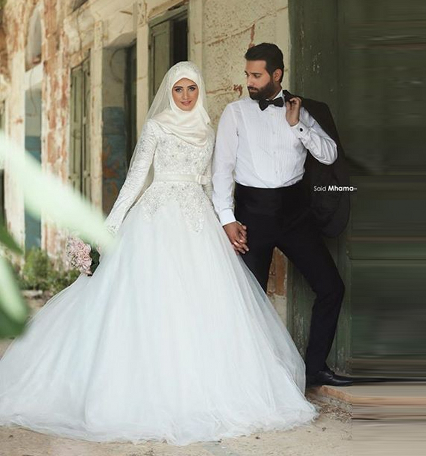 Buy high neck long sleeve muslim wedding for Cheap muslim wedding dresses