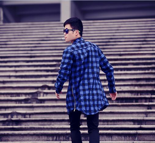 2016 Cool hba men streetwear shirts side zipper plaid Pockets hip hop flannel brand Tyga Camisetas