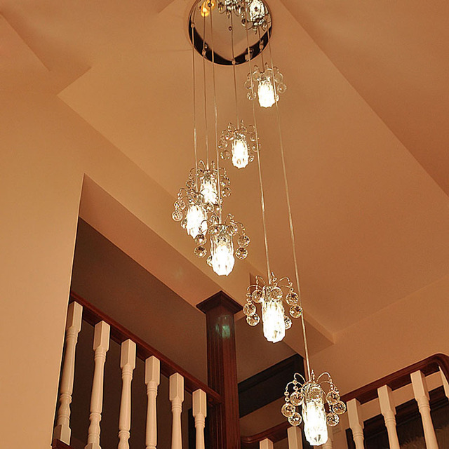 Staircase Lantern Chandelier Duplex Staircase Chandelier Crystal Lamp Floor  In The Building Modern Simple Living Room