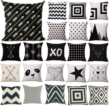 Cotton Pillow Cases Black/White Patterns