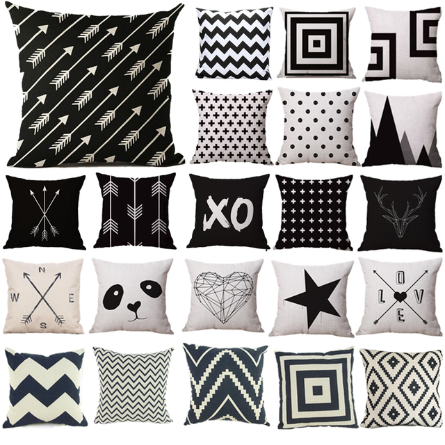 Black and White Pattern Pillowcase Cotton Linen Printed 18×18 Inches Geometry Euro Pillow Covers Free Shipping