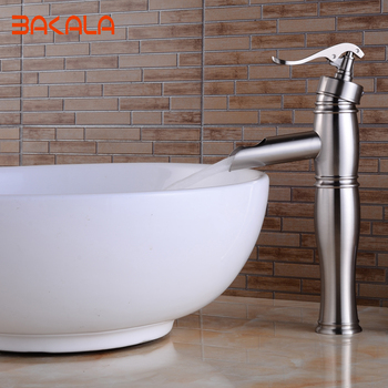 BAKALA Bathroom Waterfall Nickel Plating Single Hole Deck Mounted Mixer Taps Bathroom Hot And Cold Water Basin Faucets GZ-8012L фото
