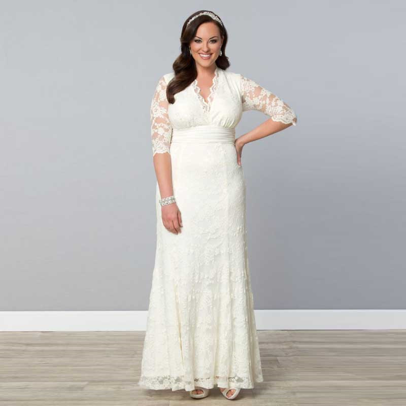 plus size ankle length wedding dress
