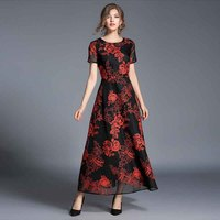 2017 Autumn New Arrivals High End Jacobs Embroidery Long Dress Woman Short Sleeve Slim Runway Casual