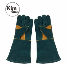 KIM YUAN 015L Leather Welding Gloves Heat/Fire Resistant, Perfect for Welder/Oven/Fireplace/Animal Handling/BBQ -GREEN- 16inches