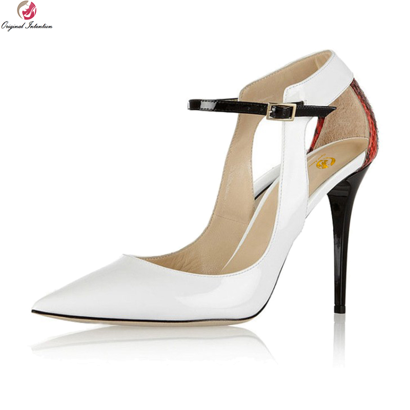 Original Intention New Fashion Women Pumps Nice Pointed Toe Thin High Heels Pumps Elegant White Shoes Woman Plus US Size 4-10.5 bowknot pointed toe women pumps flock leather woman thin high heels wedding shoes 2017 new fashion shoes plus size 41 42