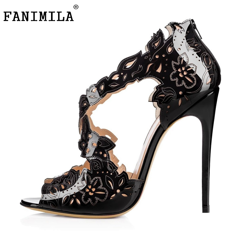 ФОТО Women Patent Leather High Heel Sandals Pointed Toe Heels Sandalias Lady Candy Color Party Wedding Shoes Footwear Size 35-46 B259