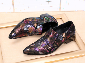 2018 spring new style leather men's shoes pointed toe luxurious colorful wedding dress shoes prints men's flats plus size 38-46