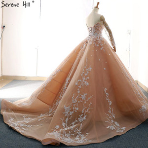 Image 4 - Женское винтажное свадебное платье, белое платье с длинным рукавом, открытыми плечами и аппликацией, на шнуровке, модель 2020, 66596