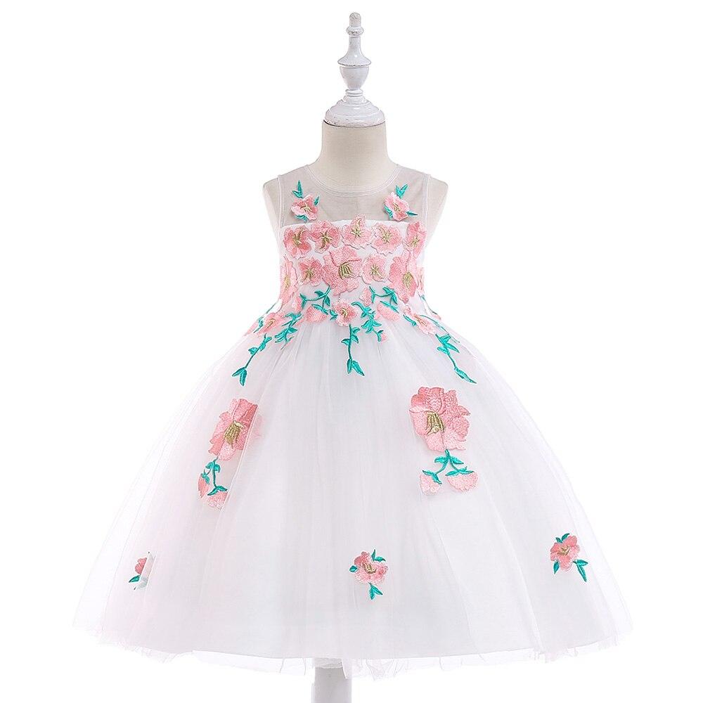 Embroidery Beauty Princess Summer Evening Party Gown   Dress   Elegant Princess   Flowers     Girls     Dress   2019