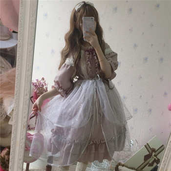 2018 SUMMER Provence Lavender Dress Purple Gray Lolita lace Ruffled