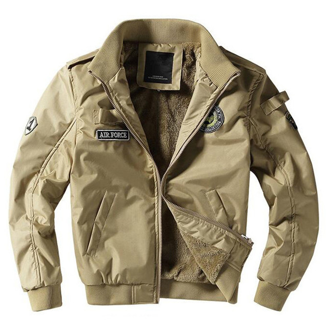 34ec9342e2a MORUANCLE Mens Fleece Lined Bomber Jackets And Coats Thick Warm Flight  Jacket Windbreaker With Patches Size