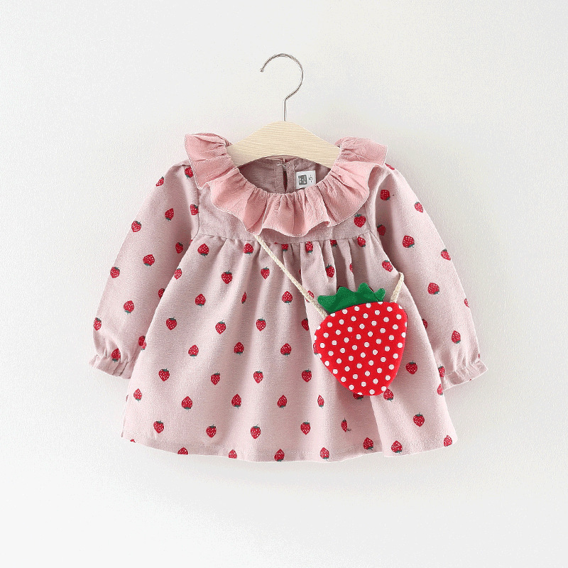 Ruffle Callor Baby Dresses Long Sleeve Strawberry Printed Bag Kid Dress Party Prom Bebes Girls Clothes Fashion Toddler Clothing