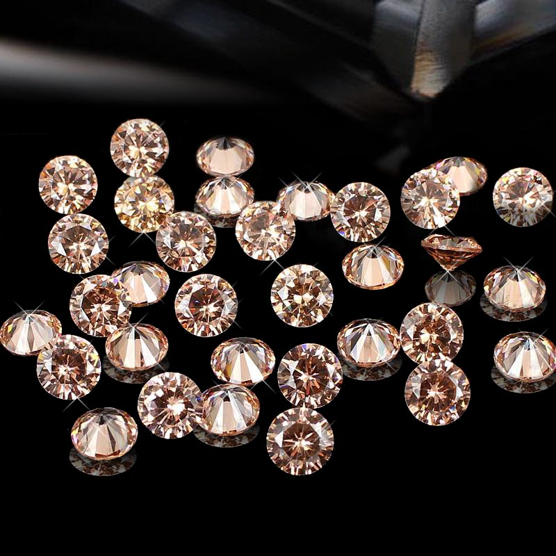 Hot Sale Champange 4-18mm Brilliant Cubic Zirconia Stones Round Shape Pointback Machine Cut Cubic Zirconia Beads For Jewelry Diy hot sale beads