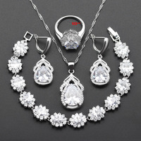 New Top Silver Color 925 Logo Flower Jewelry Set White Cubic Zircon Necklace Earrings Ring