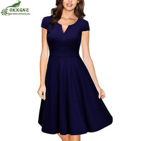 Autumn New Hepburn Vestidos Womens Dress Formal V Neck Casual Office Wear Working Bodycon Knee Length A line Dresses OKXGNZ