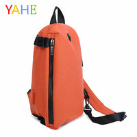 YaHe USB Charging Mens Shoulder Bags Casual Messenger Bag Earphone Jack Male Chest Bag Black Solid