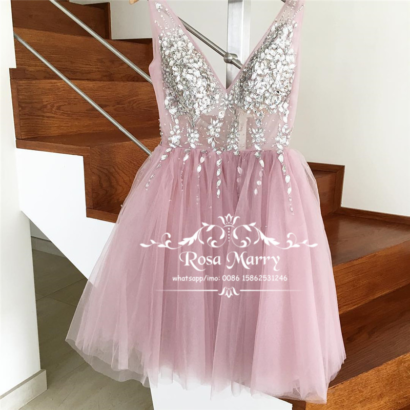 Luxury Crystals Short   Prom     Dresses   2019 A Line Backless Plus Size Knee Length Cheap Girls Formal Gowns vestidos de fiesta