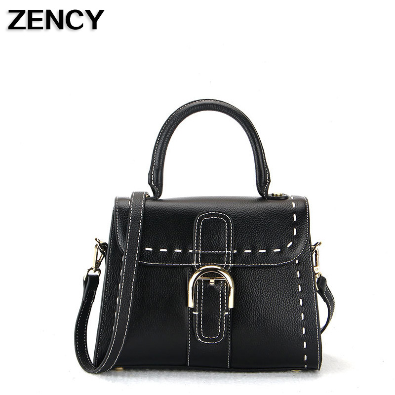2018 New First Layer Genuine Leather Small Women Handbags Ladies Real Top Leather Female Ladies Messenger Bag Hobo Satchel zency genuine leather small women shoulder tassel bags tote handbags first layer cow leather ladies messenger bag satchel